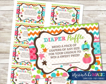 Baby Shower Diaper Raffle Cards for Two Little Pumpkins, Printable PDF Diaper Raffle Ticket, INSTANT DOWNLOAD, Fall Baby Shower, Pumpkin