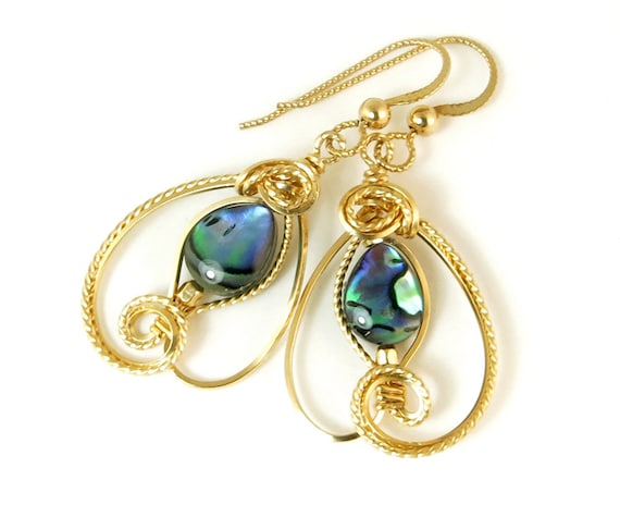 Paua Abalone Earrings Gold Filled Blue and Green Wire Art Unique Earrings