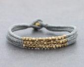 Cube Grey Beaded Three Strand Bracelet