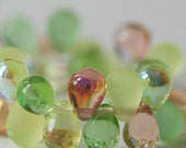 8x6mm Czech Glass Teardrop Beads - 6x8 Teardrop Mix - Jewelry Making Supply - Czech Beads - 5 colors (40 Drops) Fruit Medley