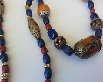 Ethnic Tribal necklace Artist designed natural stones African Tibetan Big Bold long