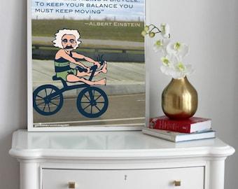 Keep Your Balance Albert Einstein Bicycle Inspirational Message Digital Art Print PDF - Instant Download