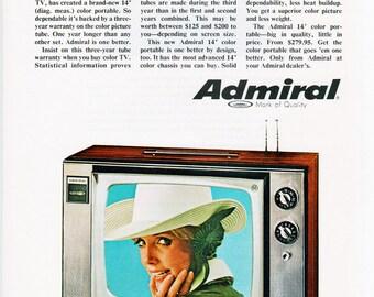 Admiral Portable TV Ad, 1968