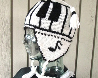 Piano Keys Ear Flap Hat
