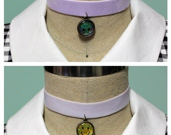 Pastel Goth Holographic 2 In 1 Reversible Velvet Elastic Choker - Lavender With Your Choice Of Images