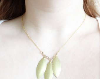 Minimal Leaf Necklace, Gold Marquise Necklace, Minimalist Jewelry
