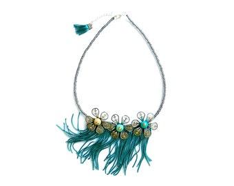 Tassel Statement Necklace, Flower Bib Necklace, Petroleum Green Flower necklace
