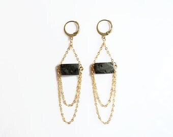Pyrite Statement Earrings, Layering Gold Chain Earrings, Pyrite Jewelry