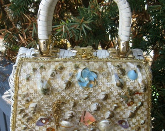 Vintage Mid-century White Laminated Straw Purse with Sea Shells, Sea Horse & Rhinestones under Clear Plastic , Hong Kong