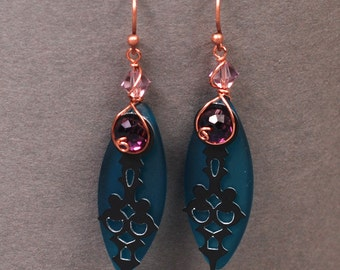 Steampunk Earrings - Teal Sea Glass Earrings - Clock Hand Earrings - Steam Punk Earrings