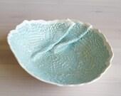 PLEATS porcelain doily bowl. Gathered ceramic lace, scalloped edge, aqua glaze, serving bowl, tabletop decor