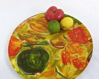 Vintage 1970's Spun Acrylic Round Service Tray - BRIGHT Tuity Fruity Mid Century Platter