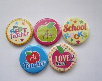 teacher gift set Magnets set of 5 button  mini 1 inch or 1.25 inch  magnets you choose the size