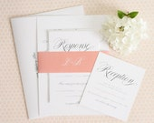 Blush Wedding Invitation - Light Coral, Blush, Script Font, Package - Garden Script Wedding Invitations by Shine Invitations