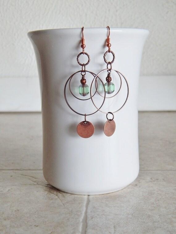 Green Glass and Copper Earrings, Bohemian jewelry, Hoop earrings, Green, Dangle earrings