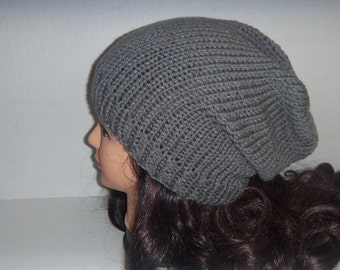 Grey Slouchy Hat, Knitted Gray Hat, Mens Accessories, Winter Hat, Womans accessories