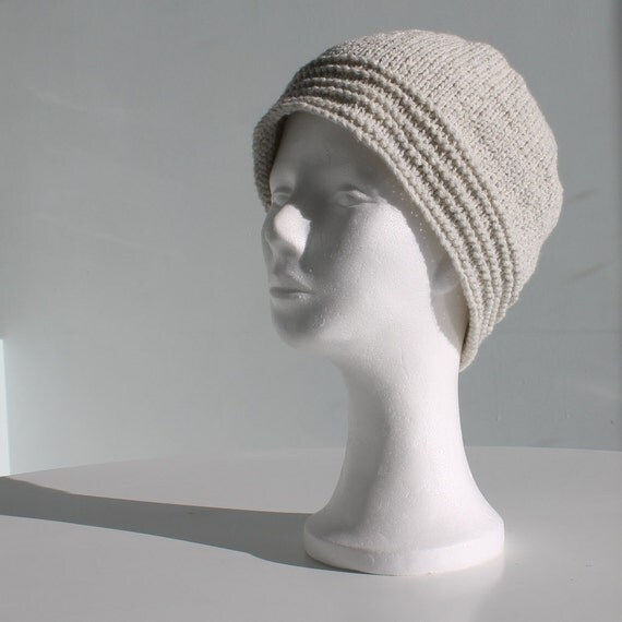 Hand knit beanie hat light grey