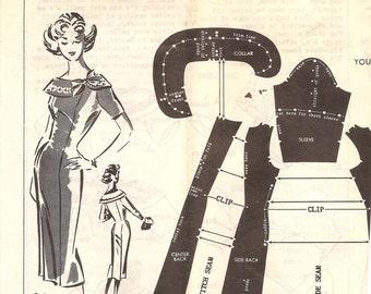 1960s Slim Wiggle Dress with Wide Collar Pattern - Vintage Patt-O-Rama 344 - Bust 32