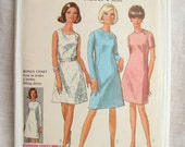 Simplicity 7506 Sheath or Shift 1960s Dress Vintage Sewing Pattern Bust 36