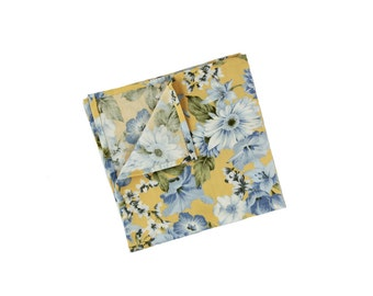 Piper 03 - Yellow/ Blue Floral Pocket Square