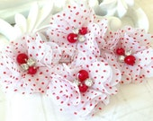 "4 pcs Aubrey White w/ Red polka Dots Patterned (red pearls)- 2"" Soft Chiffon with pearls and rhinestones Layered Small Fabric Flowers."