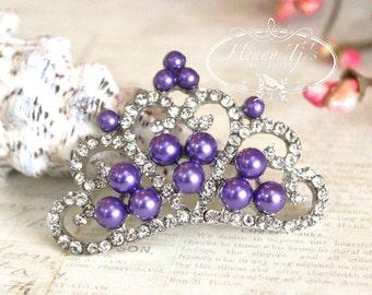 4 pcs GRAPE / PURPLE Pearls Stunning Tiara Crowned Princess crystal Rhinestone Buttons, Crystal Tiara Bow Embellishment