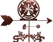 Hand Made Fire Rescue Fighter Weathervane NEW
