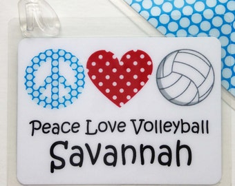 Personalized Volleyball Bag Tag Volleyball Mom Gift Volleyball Team Gift Volleyball Party Favor Personalized Tag Custom Volleyball Bag Tag