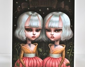 Tweedle Dee and Tweedle Dum - Limited Edition Alice in Wonderland signed numbered 8x10 pop surrealism lowbrow Fine Art Print by Mab Graves