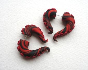 Red Black Octopus Tentacle Gauged Earring -Monster- Geek -Cosplay- Stripe
