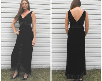 60s Black Velvet Cocktail Dress Long Sleeveless Vintage Formal Party S M Ruffle Low Open Back