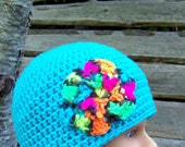 womens crochet flower hat girls crochet hat beanie with flower bright turquoise blacklight flower youth adult 9290