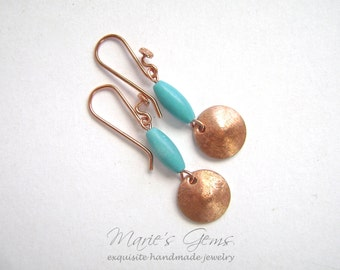 Turquoise Earrings, Brushed Copper Discs,  Bright Copper, Chalk Turquoise, Robins Egg Blue, Handmade Jewelry, 816