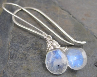 Blue Moonstone Earrings - Long Sterling Silver French Hook Dangles