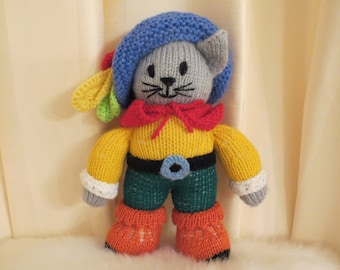 Handmade Knitted Puss in Boots Doll Plush Soft Toy