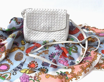 White Small Leather Handbag - Woven Iridescent Leather - Long Strap - Party/Wedding