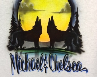 Wolf Couple Howling at the Moon w/ Your Names Airbrush T-Shirt sz S M L XL 2X Airbrushed T Shirt