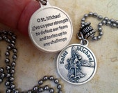 Defeat Fear, Archangel Michael Necklace, Patron Saint,  Holy Medal with Prayer, Baptism Gift, Catholic Jewelry