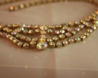 Gold Sparkle Rhinestone Aurora Borealis Necklace Triple Drop Vintage Gold Metal