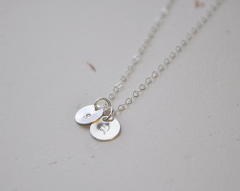 Silver Initial & Heart Necklace - tiny sterling discs small circle charm pendant hand stamped sweet gift for her - simple everyday jewelry