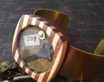 Joy of Steampunk Striped Wood Cuff Bracelet