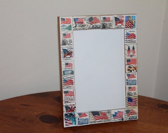 American Flag/ 4th of July/ Memorial Day/ Summer Postage Stamp Frame (Holds 4 x 6 photo)