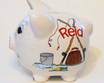 Piggy Bank Fishing with Red Name Personalized