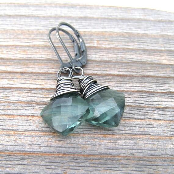 Green Amethyst Earrings, Wire Wrapped In Sterling Silver,  February Birthstone, Green Amethyst Jewelry, Prasiolite Earrings