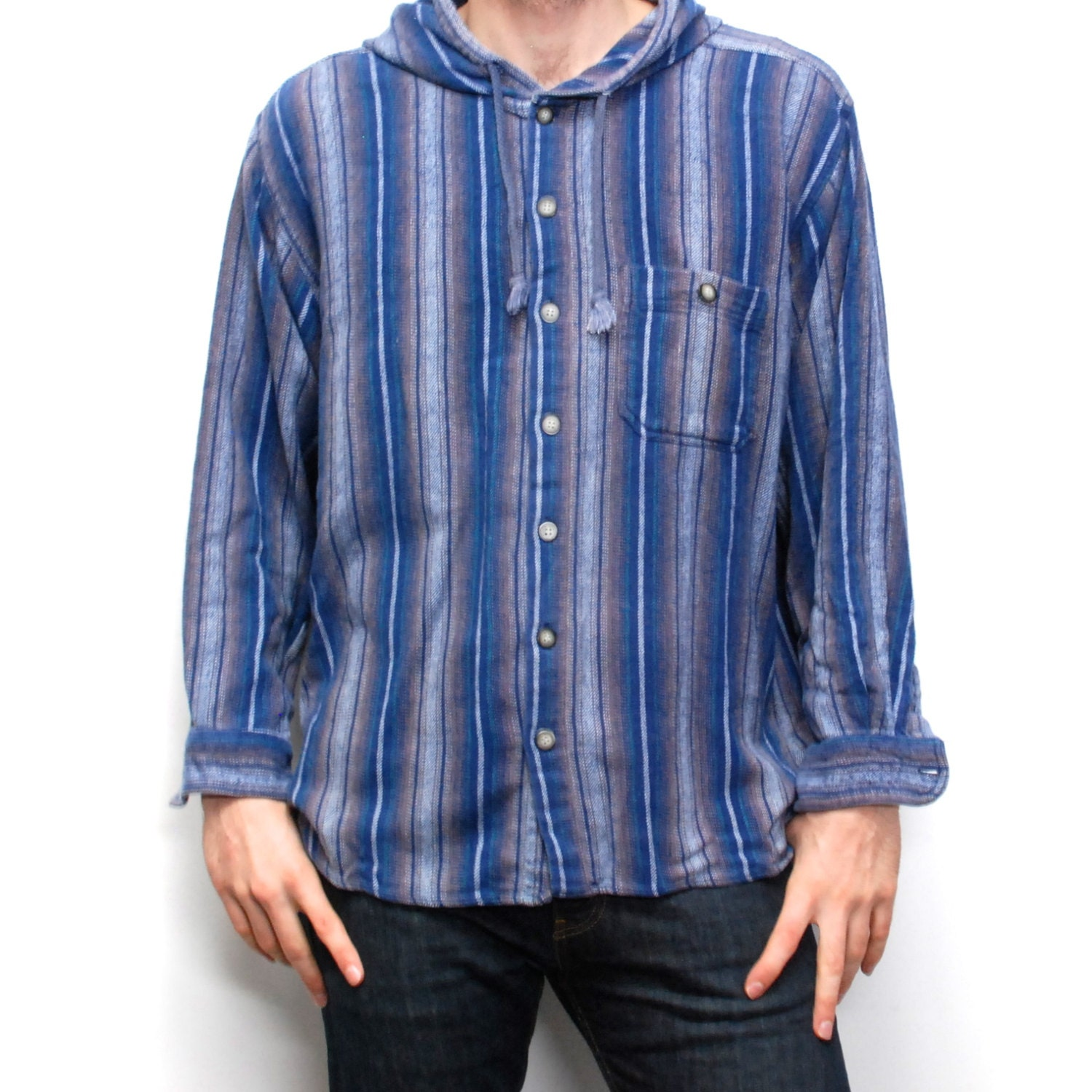 Grunge hoodie flannel button up hooded shirt for Button up flannel shirts