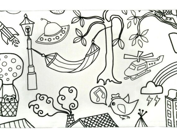 Download Coloring In Table Cloth LARGE Kids Craft Party Favor by MayBrady