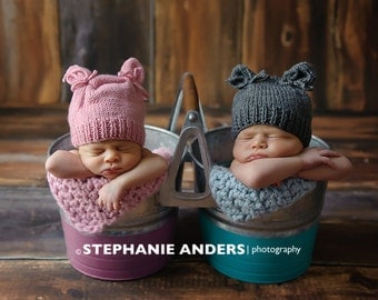 Newborn photo prop, newborn hat, newborn boy, newborn girl, knit newborn hat, newborn props, Newborn hat with ears. Choose your color