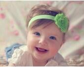 Apple Green Shabby Flower Headband Infant Flower  Headband Newborn Flower Headband  Shabby Chic Flower Headband  Photo Prop Baby Shower