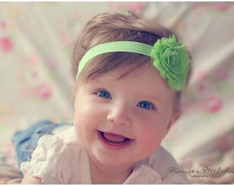 Apple Green Shabby Flower Headband Infant Flower  Headband Newborn Flower Headband  Shabby Chic Flower Headband  Photo Prop Baby Shower