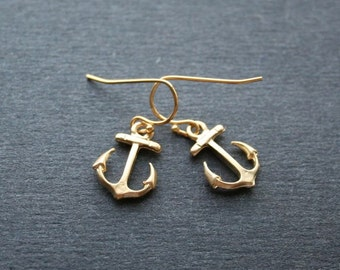 Gold Anchor Earrings, Anchor Jewelry, Beach Earrings, Anchor dangle Earrings, Gold Beach Jewelry
